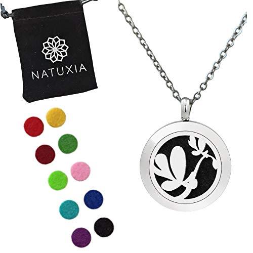 Natuxia Colgante Aromaterapia Difusor De Aceites Esenciales, Medallón Mariposa - 10 colores