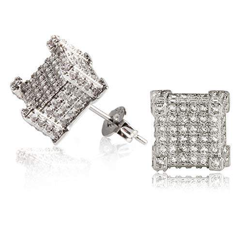 LEEQ Iced Out Stud Earrings 14ct Gold White Gold, Round Micro Pave 5A CZ Stones Earrings, 925 Sterling Silver Prong E(White Gold)