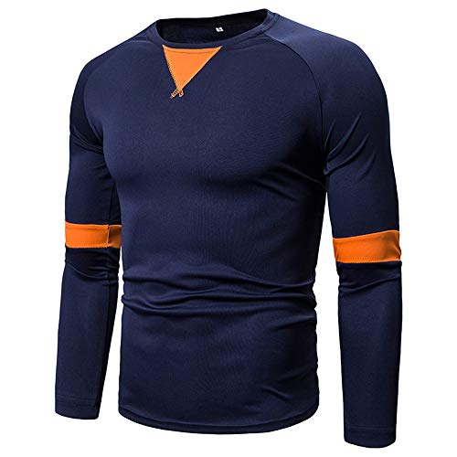 Men's Pullover T-Shirt Casual Daily Wear Crew Neck Long-Sleeve Slim Fit Patchwork T-Shirts Basic Spring and Autumn New Outdoor All-Match Streetwear Winter Bottoming Shirt XXL