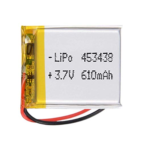 Batería 453438 LiPo 3.7V 610mAh 2.257Wh 1S 5C Liter Energy Battery para Electrónica Recargable teléfono portátil vídeo mp3 mp4 luz led GPS - No Apta para Radio Control (3.7V 610mAh 453438)