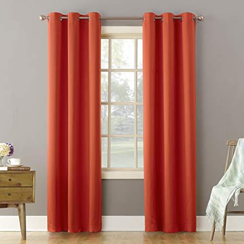 "Sun Zero Becca Energy Efficient Grommet Curtain Panel, 40"" x 84"", Tangerine"