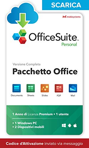 OfficeSuite Personal - LICENZA DIGITALE - Compatibile con Microsoft® Office® Word® Excel® & PowerPoint® e Adobe® PDF per PC Windows 10, 8.1, 8, 7 - 1 anno di licenza, 1 utente