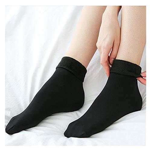 ZHEMAIDZ Flauschige Socken Halten Sie warme Winterfrauen verdicken Wärmewolle Kaschmir Schnee-Wamer-Socken Nahtlose Samtstiefel Fußboden schlafende Socken für Damen (Color : Black)