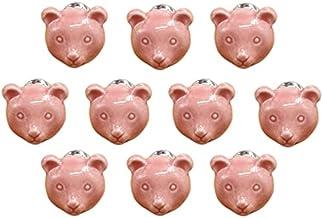 Cartoon dierlijke vorm keramische deur handvat AOOF dressoir keuken kast lade handvat 10 stuks, grijs (roze)