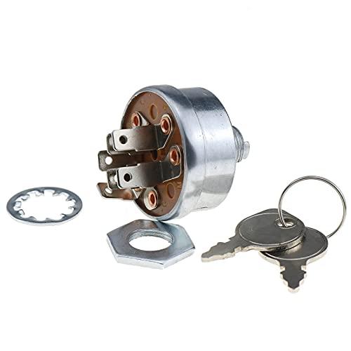 DVPARTS Starter Switch Ignition Switch W/2 Keys AM38227 33-398 430-110 for Oregon John Deere 316 318 420-108 111 111H 112 112L 116 116H - GS25 GS30 GS45 GS75