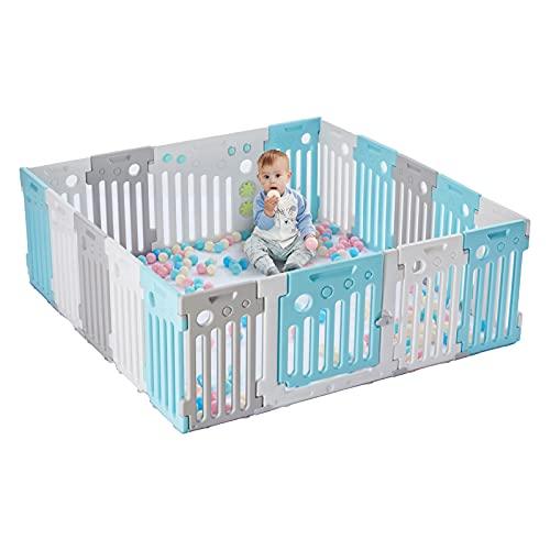 LONTEK Parque Infantil Bebé con Seguridad, Corralito Bebé con Puerta y Pelotas para Niños de 0 a 6 Años, Interior y Exterior, con 18 Paneles (16+2)