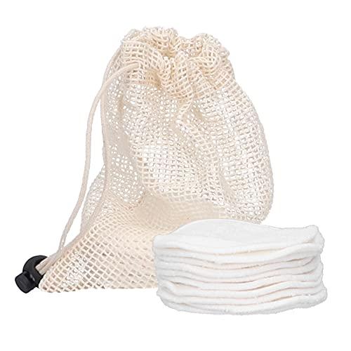 Almohadillas desmaquillantes Reutilizables: Rondas de algodón orgánico Reutilizable para tóner,...