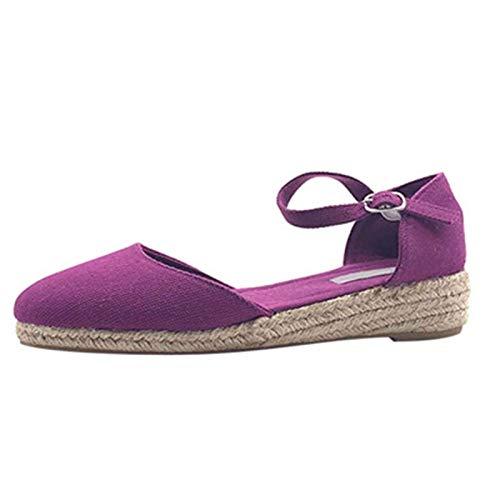 Sandalias Mujer Verano Casual Cuña Roma Sandalia Hebilla Ajustable Hueco Retro Color sólido a pie Senderismo Zapato para Vacaciones,jardín,Compras,Partido