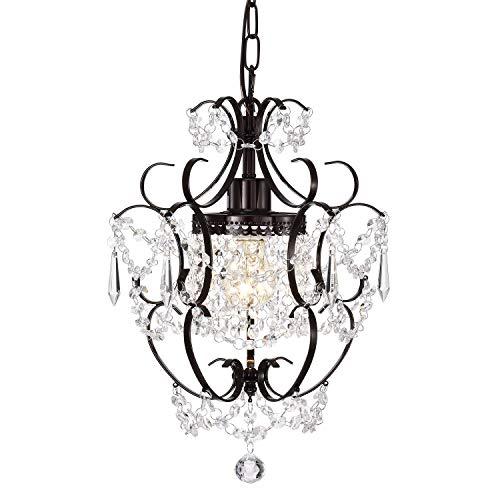Lámpara de araña de cristal mini colgante de color bronce vintage con 1 lámpara