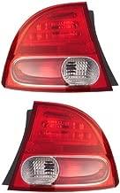 2006-2007-2008 Honda Civic 4-Door Sedan & Hybrid Taillamp Taillight Rear Brake Tail Light Lamp (Quarter Panel Outer Body Mounted) Pair Set Right Passenger AND Left Driver Side (06 07 08)