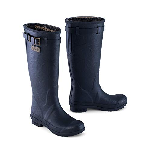 Pendleton Women's Heritage Embossed Solid Tall Slip-Resistant Rain Boot, Black, Size 7