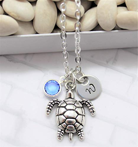 Sea Turtle Necklace - Turtle Jewelry - Turtle Gift for Women & Girls - Personalized Birthstone & Initial