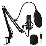 Techtest Condenser Streaming Gaming Mic Microphone Recording for Singing Usb Kit Podcast Professional