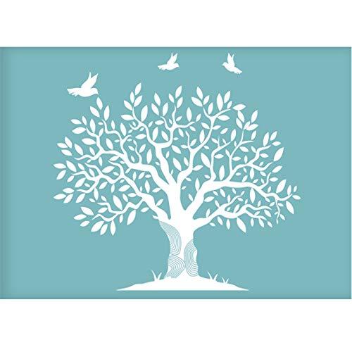 OLYCRAFT - Plantilla de Serigrafía Autoadhesiva para Árbol, Plantillas Reutilizables para Pintar sobre Tela de Madera, Camisetas, Decoración de Pared Y Hogar
