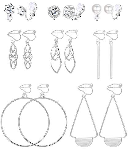 Florideco 8 Pairs Clip On Earrings Set Long Bar Celtic Knot Hoop Dangle Clip On Earrings Cubic Zirconia Pearl Non Pierced Earrings for Women