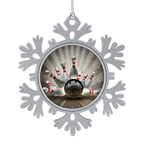 Bowling Ball Sport Vintage Multiuses Snowflake Decoration Christmas Tree Hanging Snowflake Ornament for Holiday New Year Party Wedding Decoration