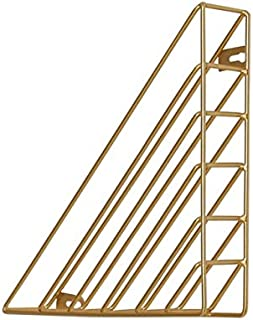 Yiherone Iron Bookshelf Magazine Display Stand Newspapers Storage Rack Vintage Organizer Storage Holder Office Decor Book Rack Bookends(White) New (Color : Gold)