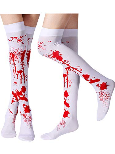 Tatuo Women Stockings High Socks for Halloween Cosplay Costume, 2 Pairs (Blood Stained) White and Red