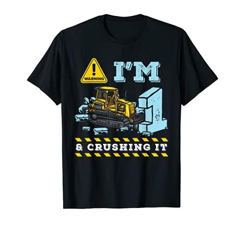 1er cumpleaños bajo diseño de construcción excavadora juguete Camiseta