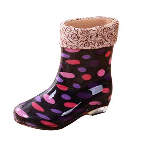 JEELINBORE Damen Gummistiefel Regenstiefel Gedruckt Anti-Rutsch Wasserfeste Schuhe Garten Feldstiefel (Rot #Tupfen (Warme Futter), Asien 36)