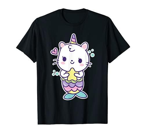 Mermaid Star Sea Creature Unicorn Magical Fairytale Meow Cat T-Shirt