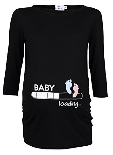 Happy Mama Damen T-Shirt Babyfüßchen Druck Oberteil für Schwangere. 549p (Schwarz, 42-44, XL)