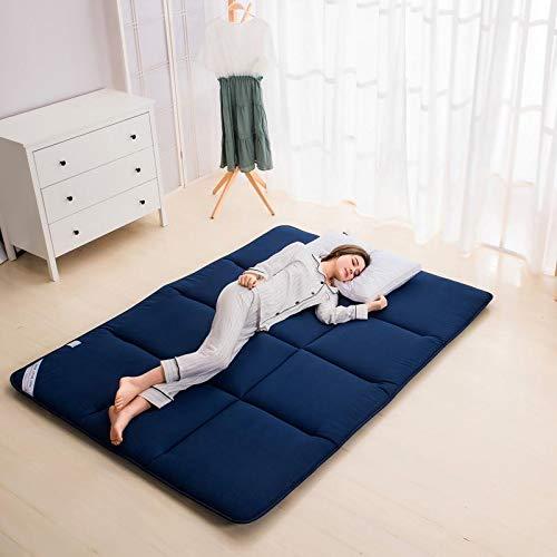 qmj Colchón De Suelo Japonés Doble Individual Espesar La Almohadilla para Dormir De Tatami Colchón Plegable,Dark blue-90x195cm