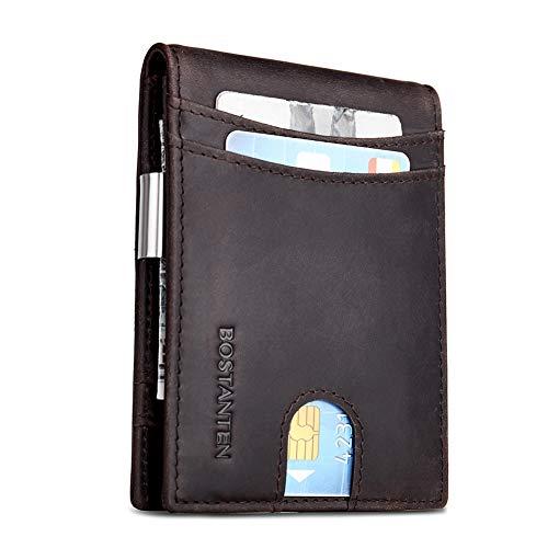 BOSTANTEN Leather Wallets for Men Bifold Money Clip Slim Front Pocket RFID Blocking Card Holder Coffee