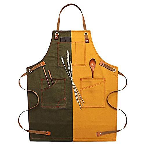 Delantal de tela vaquera ajustable para hombres y mujeres, delantal de cocina ajustable con bolsillos para cocinar, hornear,...