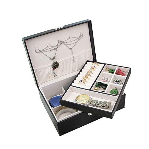Wuudi Joyero, organizador de joyas de 2 capas de piel sintética con compartimento extraíble para anillos, pulseras, pendientes, collares, regalo para mujeres y niñas, color negro