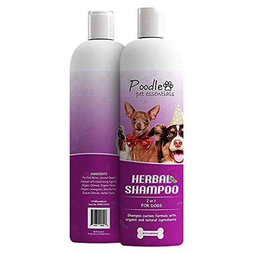 Poodlie All Natural 2-in-1 Dog Shampoo and Conditioner - Gentle Pet Shampoo with Coconut and Oatmeal - Herbal Scent - 16oz