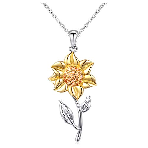 S925 Sterling Silver Sunflower with CZ Pendant Necklace or Ring Earrings Bracelet Jewelry for Women 18' (Yellow Necklace)