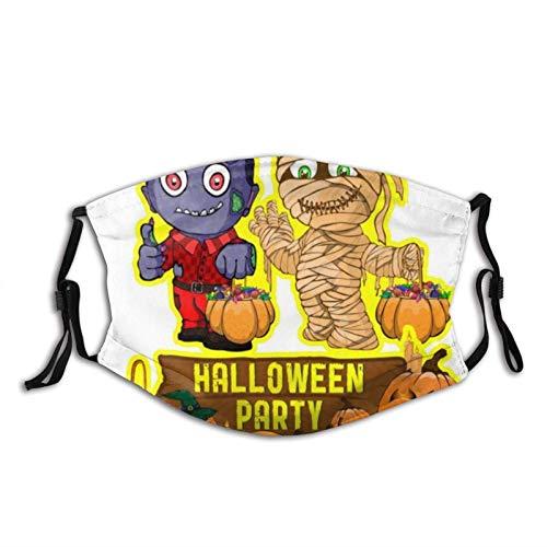 Bufanda facial diseño de póster de Halloween con pasamontañas vectorial, unisex, reutilizable, resistente al viento, antipolvo, con filtros, protección bucal