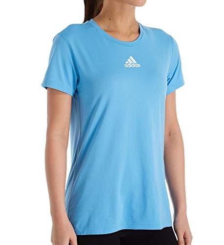 adidas Creator Climalite - Camiseta de manga corta con cuello redondo para mujer, 12H5 L, color azul claro