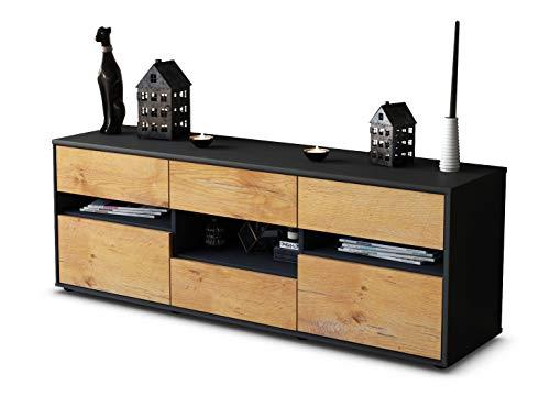 TV Schrank Lowboard Annamaria, Korpus in anthrazit matt / Front im Holz Design Eiche (135x49x35cm), mit Push to Open Technik und hochwertigen Leichtlaufschienen, Made in Germany