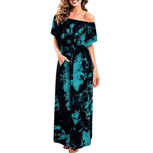 Auifor Mujer Verano Sxy frío Hombro Volantes Partido Tie Dye Split Vestido Largo Maxi