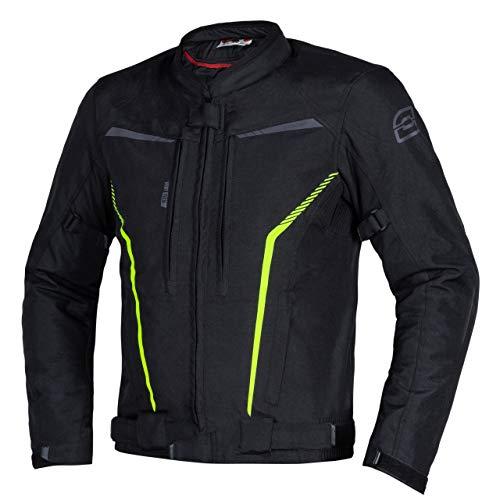 Chaqueta de moto textil Ozone Delta IV para hombre Protectores de codos y hombros de membrana 3 canales de ventilación Elementos reflectantes 4 bolsillos