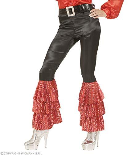 Dames Zwart Satijn Broek metRode Pailletten Vrouwen Kostuum Medium UK 10-12 voor 70s Abba Thema Fancy Jurk