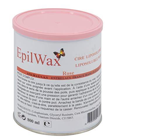 EpilWax Pot de Cire Liposoluble Rose pour Épilation - Cire Chaude Professionnelle en Pot de 800 ml