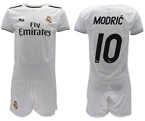 Komplett Offiziell Fußball Luka Modric 10 REAL Madrid C.F. Trikot Weiss Blancos Saison 2018-2019 Replica OFFIZIELLE mit Lizenz - Geschenkbox Shirt + Shorts (14 Jahre)