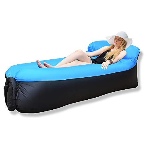 iRegro Inflatable Lounger, Air Sofa Hammock with Headrest, Waterproof & Anti-Air Leaking,...