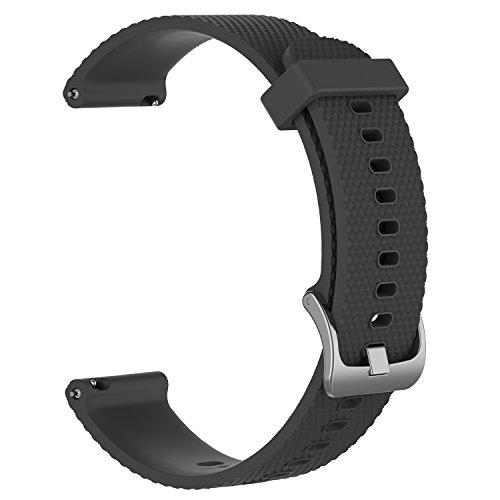 Bandas de repuesto para Garmin Vivoactive 3 / Vivomove / Vivomove HR Fitness Watch 20 mm Correa de silicona suave ajustable Quick Release Accesorio Watchband (Gris, S)