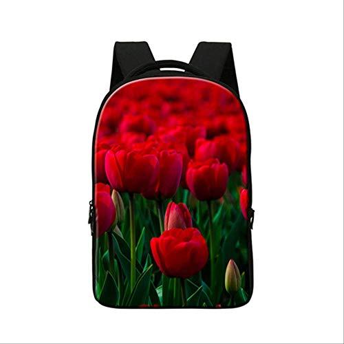Rucksäcke der Blumen-3d, für Studenten-Laptop umkleidet Mädchen-Bookbags, Multifunktions-Computer-Rucksack der hohen Kapazität der Frauen Braun