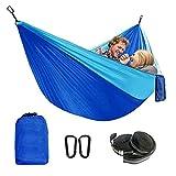FolvZil Hamaca para árbol de exterior, lona de paracaídas, portátil, hamaca de camping, hamaca de playa de jardín en la parte trasera, color azul