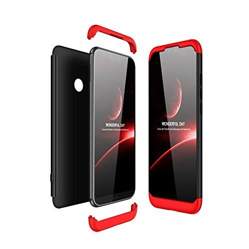 JMGoodstore Funda Compatible Huawei P20 Lite,Carcasa Huawei P20 Lite,360 Grados Integral Ambas Caras+Cristal Templado, 3 in 1 Slim Dactilares Protectora Skin Caso Cover Rojo+Negro