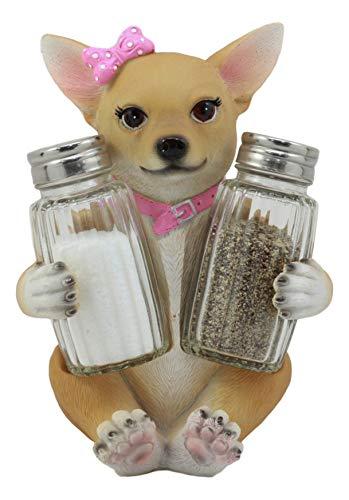 Ebros Salz- und Pfefferstreuer aus Glas in Rosa mit Chihuahua-Hund, Chihuahua-Deko-Statue