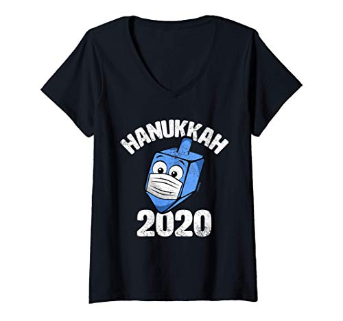 Womens Funny Hanukkah 2020 Dreidel Wearing Face Mask Graphic V-Neck T-Shirt