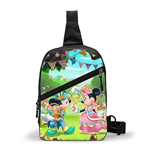 Mickey Mouse Bolsa de pecho Slung de gran capacidad multifuncional mochila hombres y mujeres moda de un solo hombro mochila Slung viaje trekking