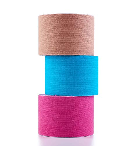 Herolio Kinesio-Tape, latexfrei, elastisch, wasserfest, Set aus 3 Rollen (3 x 5cm x 5m) Kinesiotapes in Pink, Blau, Beige