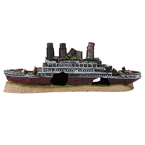 Nikou Wreck ornaments - stylish Titanic Lost Wrecked Boat Ship Aquarium Decoration non-toxic Ornament wreck ornaments